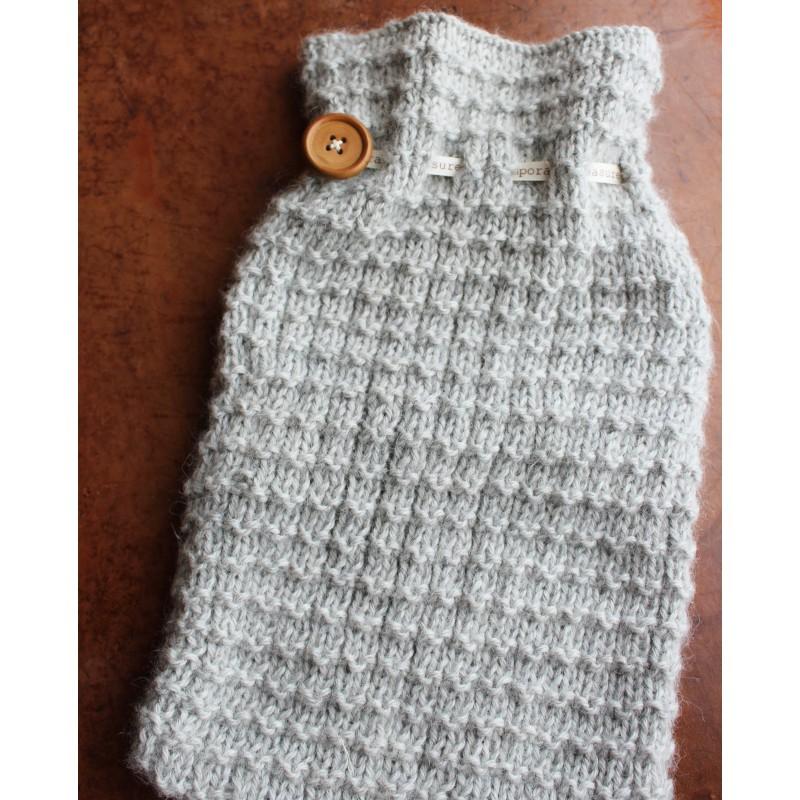Temporary Measure Grey Hot Water Bottle Knitting Gift Kit