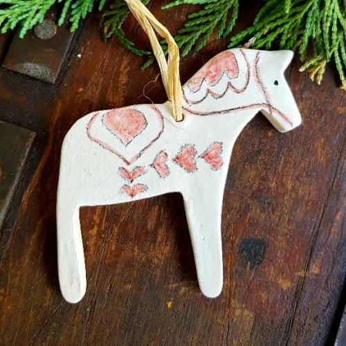 hygge hand made ceramic dala horse christmas decoration red scandinavian boutique hyggestylecouk - Horse Christmas Decorations Uk