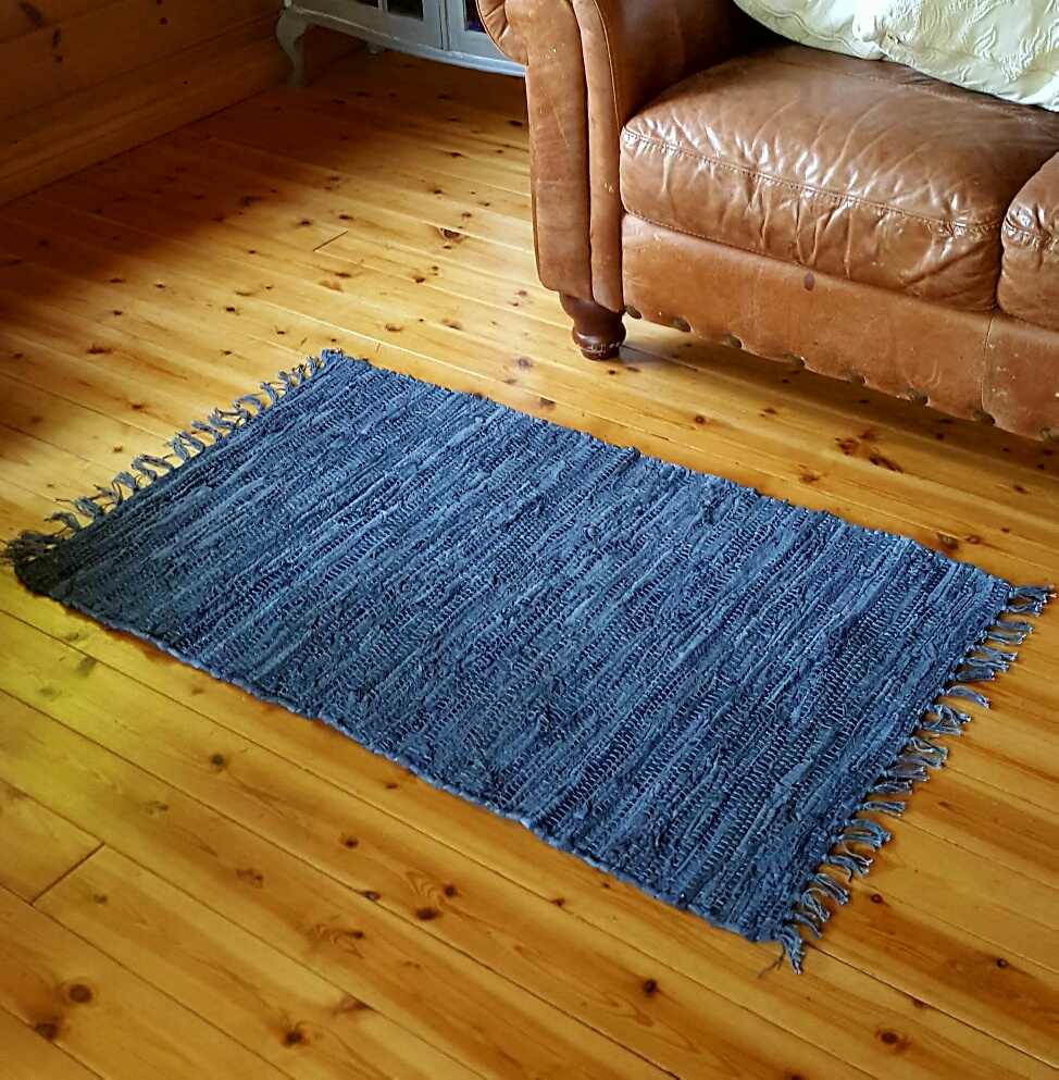 Large Rag Rugs For Sale Uk: Danish Chic Grey Leather Woven Rag Rug Mat By Gisela