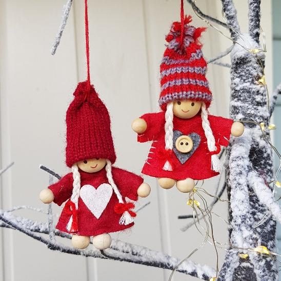 Scandinavian Christmas.Set Of 2 Nisse Tomte Felt Elves Scandinavian Christmas Decorations Red Hearts And Buttons