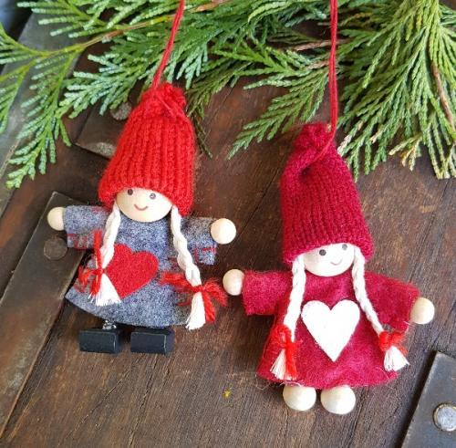 Set of 2 Nisse/Tomte felt elves Scandinavian Christmas decorations Nisse on yule lads, ded moroz, father christmas, santa claus, christmas elf, la befana, yule goat, christmas mountains,
