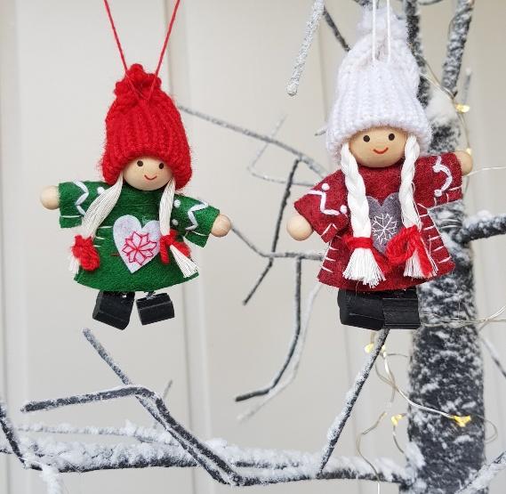 Set of 2 Nisse/Tomte felt pixies Scandinavian Christmas decorations Nisse on yule lads, ded moroz, father christmas, santa claus, christmas elf, la befana, yule goat, christmas mountains,