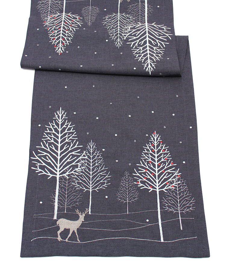 Christmas Table Runner Uk.Pewter Grey Scandinavian Christmas Table Runner Winter Woodland 190cms