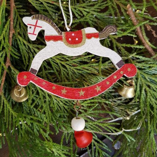 Christmas Horse Decorations.White Wooden Rocking Horse Scandinavian Christmas Decoration Gisela Graham