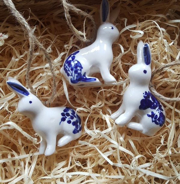 blue and white ceramic bunny christmas decoration by gisela graham scandinavian boutique hyggestylecouk