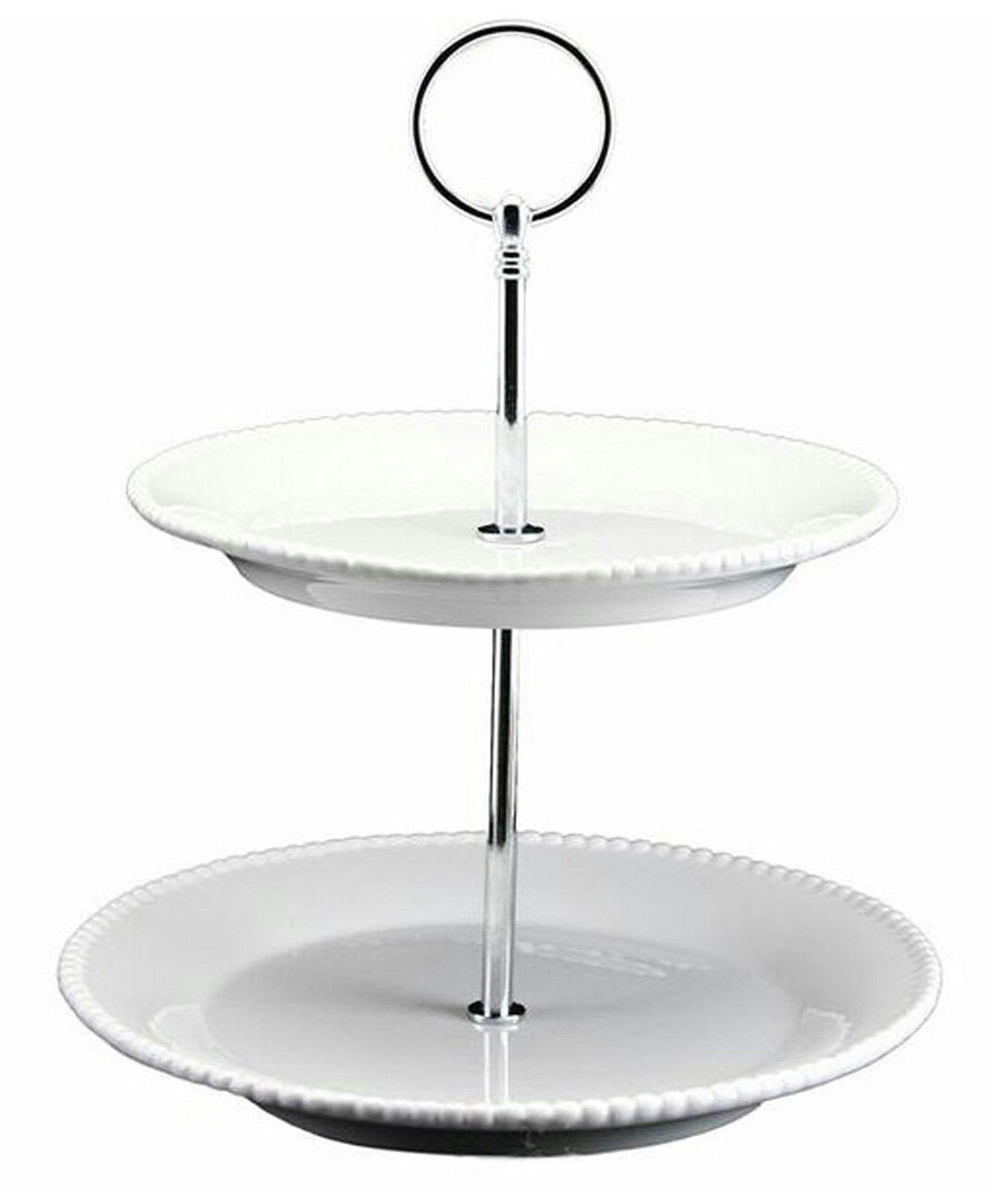 Cream Beaded Ceramic Two Tier Cake Stand Scandinavian Boutique
