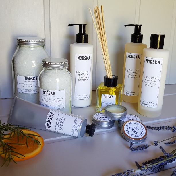 norska hygge scandinavian beauty products group shot