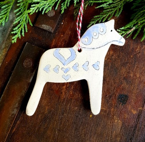 hygge hand made ceramic dala horse christmas decoration country blue scandinavian boutique hyggestylecouk - Horse Christmas Decorations Uk