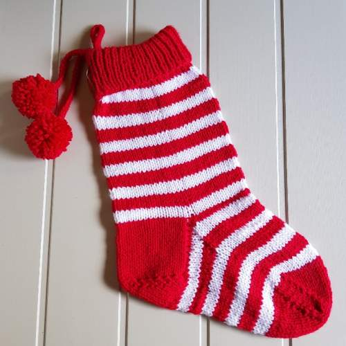 a0ef9032 Hand knitted Scandinavian red and white striped traditional Christmas  Stocking - Scandinavian boutique - hyggestyle.co.uk
