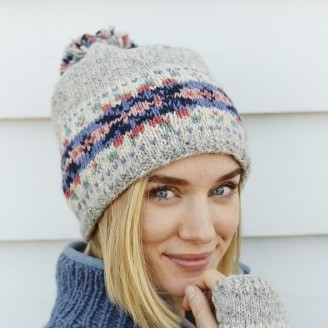 6357c26541c Inishmore Fairisle grey knitted hygge lined bobble hat beanie - Scandinavian  boutique - hyggestyle.co.uk