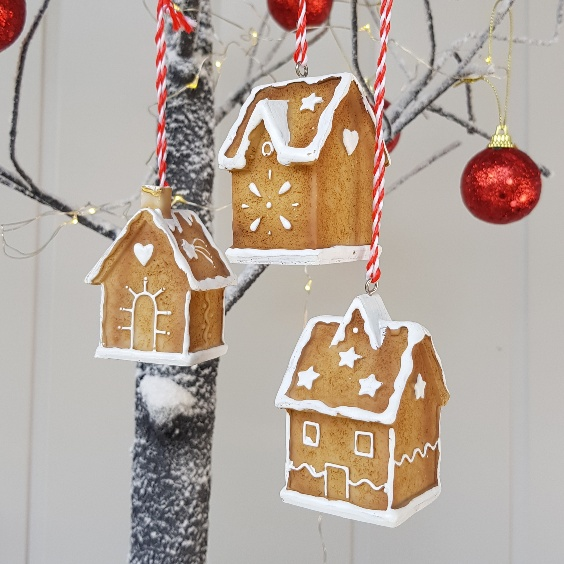 set of 3 nordic 3d gingerbread house christmas decorations by gisela graham scandinavian boutique hyggestylecouk