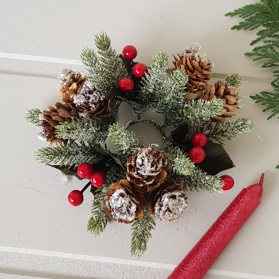Christmas Candle Rings.Nordic Frosted Fir Berry And Pine Cone Small Candle Wreath By Gisela Graham