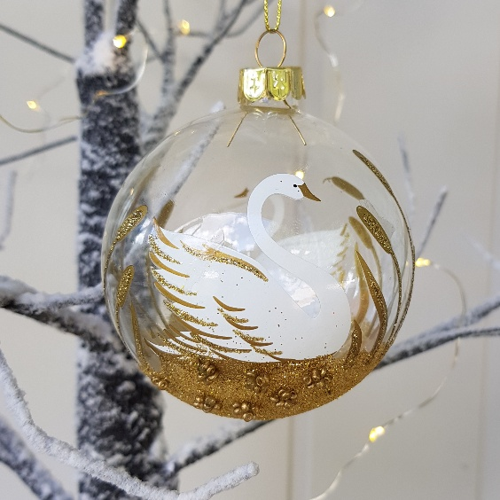 white and gold glitter swan glass christmas ornament by gisela graham scandinavian boutique hyggestylecouk