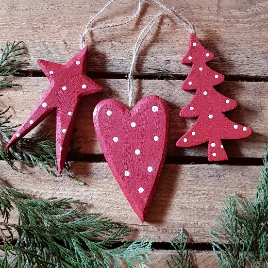 Pink Christmas Tree Decorations Uk.Set Of 3 Large Red Wooden Polka Dot Scandinavian Christmas Decorations Heart Tree Star