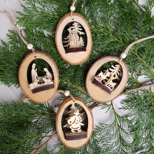 Wood Christmas Decorations.Set Of 4 X 3d Wooden Nordic Christmas Tree Decorations
