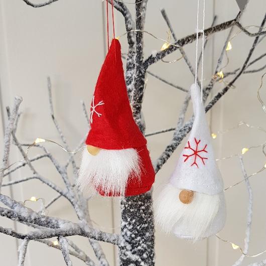Felt Christmas Decorations Uk.Set Of 2 Nordic Snowflake Felt Santa Nisse Tomte Christmas Decorations By Gisela Graham