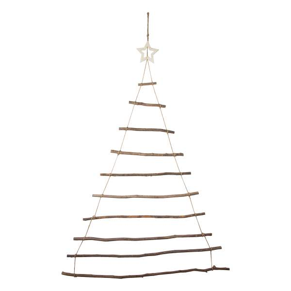 Large Rustic Wooden Hazel Christmas Tree Wall Hanging Ladder With Star
