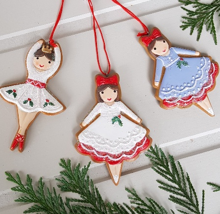 Set Of 3 Iced Gingerbread Ballerina Christmas Tree Decorations By