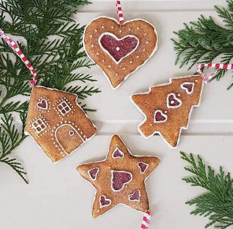 gingerbread resin hanging christmas tree decoration by gisela graham heart tree star house scandinavian boutique hyggestylecouk