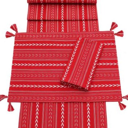 Christmas Table Runner Uk.Nordic Stripe Red Christmas Table Runner Napkins And Placemats