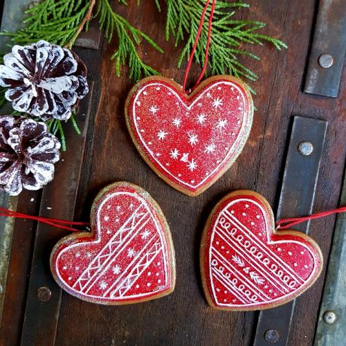 Christmas Heart Decoration.Red Iced Nordic Yule Gingerbread Heart Christmas Ornaments By Gisela Graham