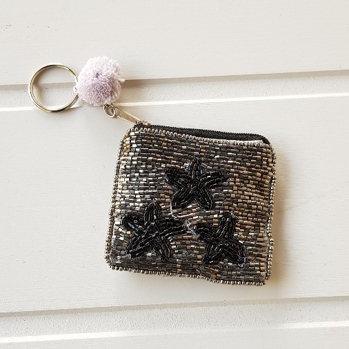 48fb77eb39 Mini beaded triple black and silver star purse on pom pom key ring -  Scandinavian boutique - hyggestyle.co.uk