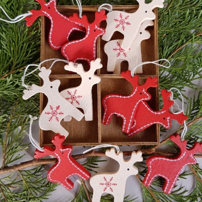 6c343aee3 Set of 12 cream and red wooden Nordic reindeer Christmas decorations in box  - Scandinavian boutique - hyggestyle.co.uk