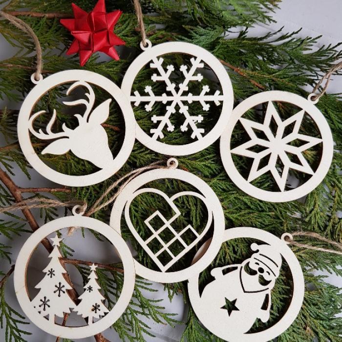 Set Of Six Danish Wooden Hanging Christmas Tree Ornaments