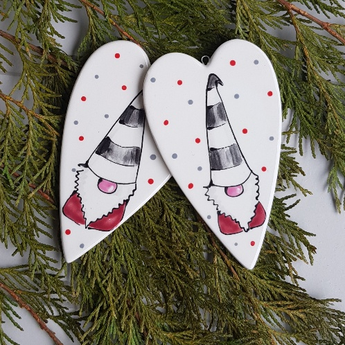 Christmas Gnomes.Nordic Nisse Tomte Christmas Gnomes Ceramic Hanging Heart
