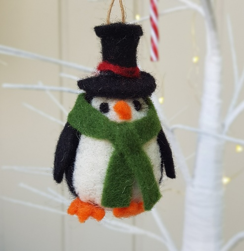 Christmas Top Hat Ornaments.Felted Wool Penguin With Top Hat Christmas Ornament By Gisela Graham