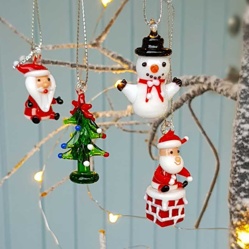 Hanging Christmas Decorations.Set Of 4 Lampwork Glass Hanging Christmas Tree Ornaments