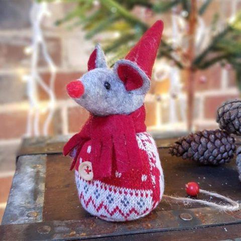 shoeless joe nordic felt mouse fairisle christmas decoration red