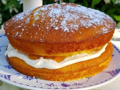 Our favourite ever almond and apricot Victoria sponge