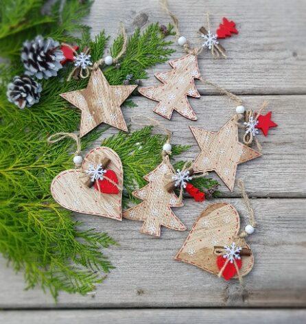 gisela graham wooden large wooden christmas nordic decorations
