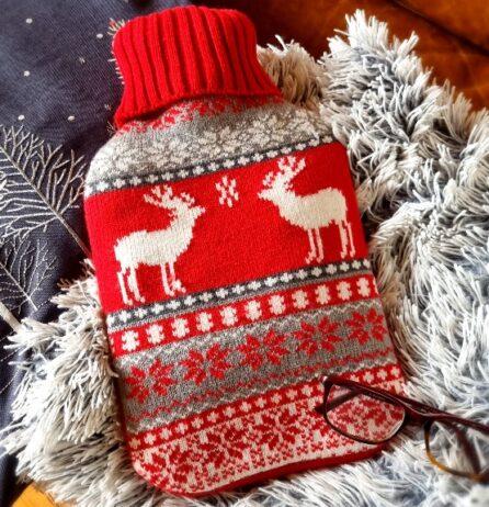 nordic fairisle stag deer christmas hot water bottle